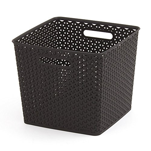 CURVER | Rangement Aspect rotin empilable L carré - My Style, Chocolat, Storage Others, 32,3x32x28,1 cm
