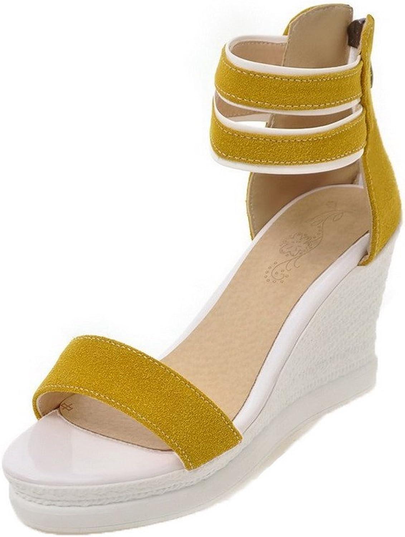 WeenFashion Women's Frosted Zipper Open-Toe High-Heels Sandals, CA18LB04787