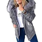 Chaqueta de Mujer Abrigo Parka de Invierno Abrigo Vaquero de Piel sintética (Color : Grey, Size : L)