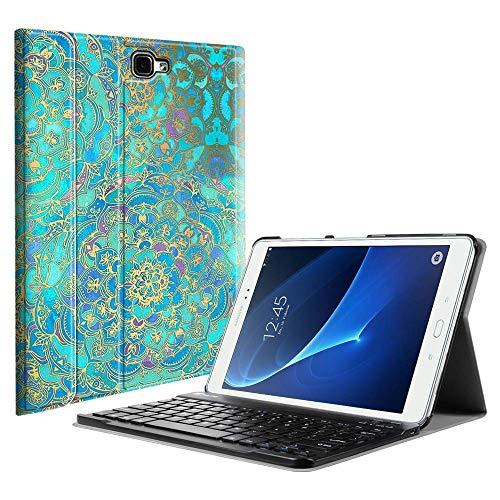Fintie Tastatur Hülle für Samsung Galaxy Tab A 10,1 Zoll 2016 T580N/ T585N Tablet - Superdünn leicht Schutzhülle mit magnetisch Abnehmbarer Drahtloser Deutscher Bluetooth Tastatur, Jade