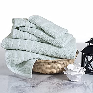 Combed Cotton Towel Set- Rice Weave 100% Combed Cotton 6 Piece Set With 2 Bath Towels, 2 Hand Towels and 2 Washcloths by Castle Point- Seafoam