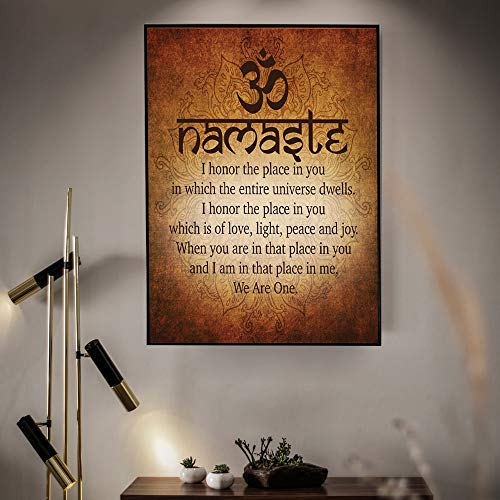 YHZSML Cita de Yoga Espiritual Motivacional Budista Namaste impresión y póster Lienzo Pintura Cuadros para decoración del hogar 40x50cm