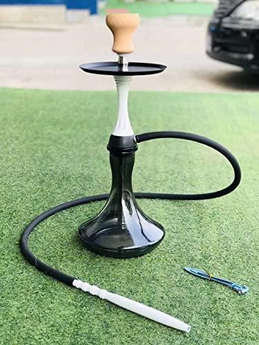 Smart Shisha Edelstahl Komplettset 55 Cm Wasserpfeife, Eingedickte Glasflasche, Arabica-Wasserpfeifenset, Geschlossener Raum, Kaminkopf-Silikonschlauch-Zigarettenkippen (Weiß)