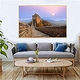 wZUN Gran Muralla China, Pintura para Sala de Estar, Lienzo, Pintura, Arte, Pintura China, Paisaje de montaña de Beijing, Puesta de Sol 60x80 Sin Marco