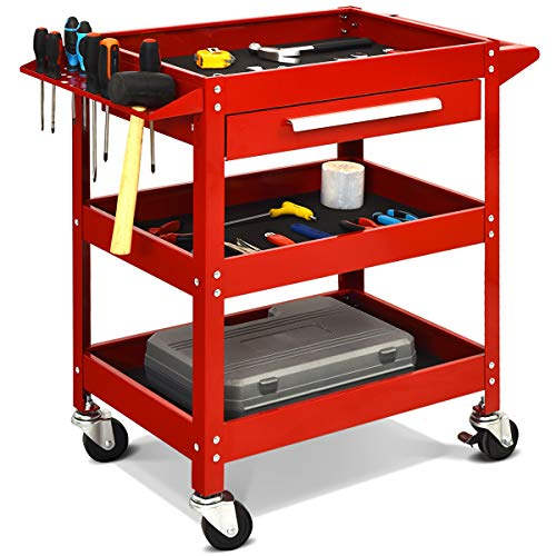 COSTWAY Werkzeugwagen mit Schublade, Werkstattwagen 3 Etagen, Rollwagen, Montagewagen Metall rot,...