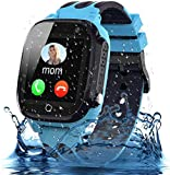 Smooce Kids Smartwatch Phone, Waterproof Smartwatch for Kids with LBS Tracker SOS Voice Chat and Camera Game for 3-12 Years Old Kids Birthday