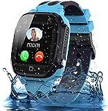 Smooce Smartwatch Niños,Impermeable Reloj Inteligente para Niños,LBS Localizador Reloj del Teléfono,Kids Smartwatch Phone con Call SOS Cámara para Niño Niña Cumpleaños (Azul)