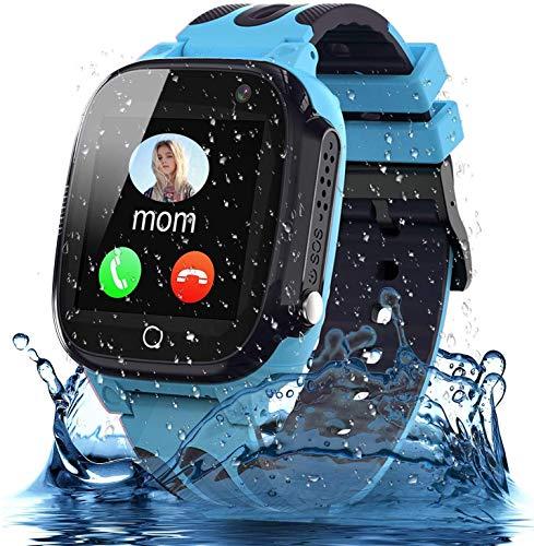 Smooce Smartwatch bambini, tracker LBS impermeabile, orologio da telefono per bambino da 3 a 12 anni (bambina e ragazzi), funzione di chiamata SOS, fotocamera, touch screen, regalo per bambini (blu)