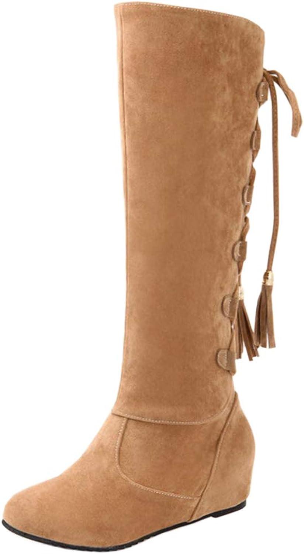 TAOFFEN Women Fashion Hidden Heel Long Boots