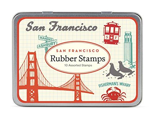 Cavallini - Tin van rubber stempels - Vintage San Francisco - Set van 10 Mini stempels