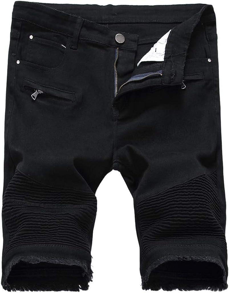 Men's Summer Hole Zipper Crumple Fit Straight Denim Vintage Style Jeans Pants Baggy Shorts,Hole Denim Shorts Pants