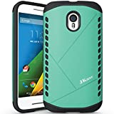 JKase Canvas Slim Protective Dual Layer Armor Case Cover Motorola Moto G 3 (3rd Gen 2015 Released) (Green)
