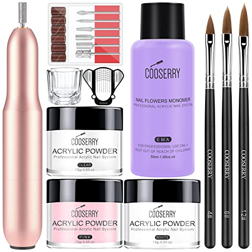 Cooserry Acrylic Nail Kit with Drill - Acrylic Powder and Monomer Liquid Set with Acrylic Nail Drills for Acrylic Nails Professional Extension, Starter Nails Kit Acrylic Set for Home Art Designs