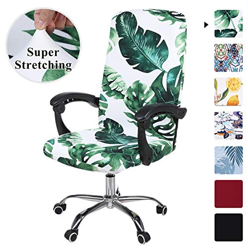 smiry Stretch Printed Computer Office Chair Covers, Soft Fit Universal Desk Rotating Chair Slipcovers, Removable Washable Anti-Dust Spandex Chair Protector Cover with Zipper (Green Monstera)