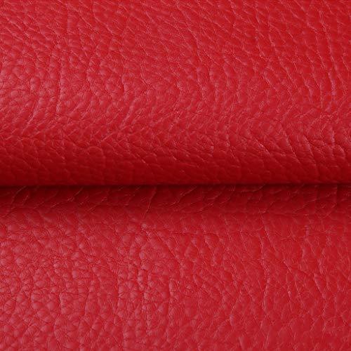 Tela De Piel Sintética Cuero Sintético Rollo De Paño De Cuero Tela De Patrón De Lichi 140*100 Cm Para Reparar Decorar Cuero Sintético Impermeable Herramientas De Costura Ro(Size:5*1.4m,Color:rojo)