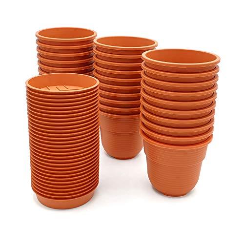 Anzuchttöpfe 8 cm Durchmesser 30 Stück mit Untersetzer Farbe: Terrakotta, Kunststoff Pflanztopf aus witterungsbeständigen Material, runde Saattöpfe