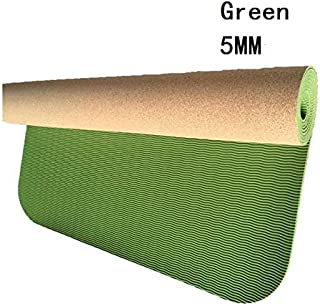 Yoga Mat Cork Sports Yoga Mat Cork Natural Rubber Yoga Mat TPE Fitness Non-Slip Exercise Pilates Workout Green 3