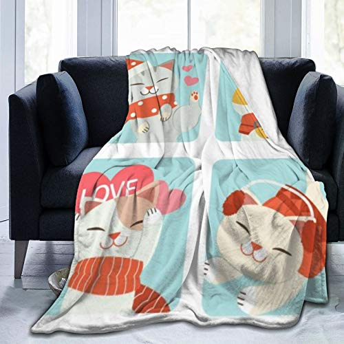 AndrewTop Christmas Fleece Throw Blanket The Collection of Cute Cat Christmas Lightweight Cozy Soft Plush Blanket for Couch Sofa Bed-80'x60'