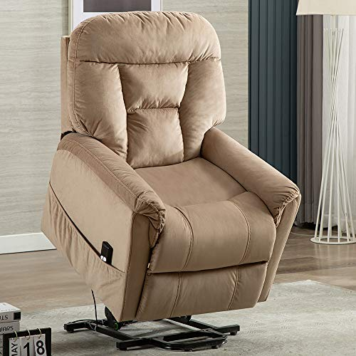 Power Lift Recliner Chair – Bonzy Home Electric Lift Chair for Elderly Overstuffed Reclining Chair for Living Room Sofa Chair – Extra Comfortable Short Plush Fabric