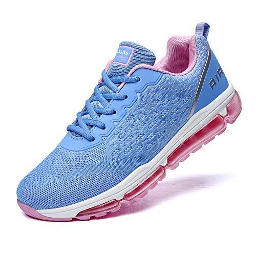 NewNaisu Damen Laufschuhe Air Sportschuhe mit Luftpolster Turnschuhe Atmungsaktiv Joggingschuhe Outdoors Walkingschuhe Straßenlaufschuhe Blau Pink 42