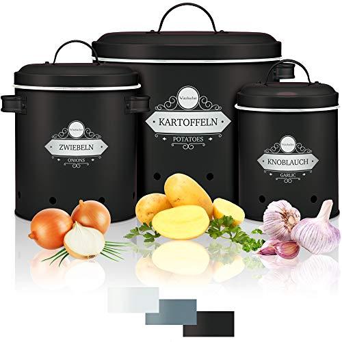 Winzbacher® - Vorratsbehälter [3er Set] für Kartoffel, Zwiebel & Knoblauch | 360° Luftzirkulation | Aufbewahrungsbox, Vorratsdosen, Aufbewahrung Küche | Rostfrei | für maximale Haltbarkeit