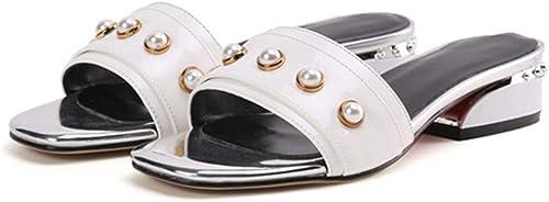 HommesGLTX Talon Aiguille Talons Hauts Sandales Nouvelle Arrivée Femmes Pantoufles Solide Chaussures D'été Mode Talons Carrés Chaussures Grande Taille 33-44 élégant Pearl Mules Chaussures