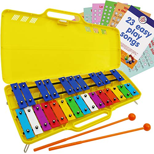 Glockenspiel 25 Notes  Metall Xylophone Chromatic  Easy Music Cards with 23 Songs