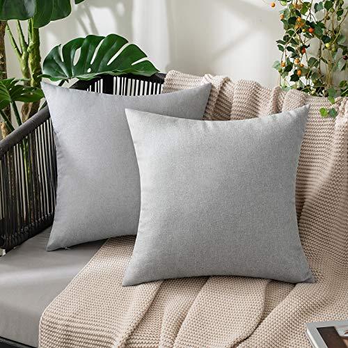 MIULEE 2er Set Kissenbezug aus Baumwolle Leinen Outdoor wasserdichte Dekorative Moderne Garten Dekokissen Kissenhülle Sofakissen für Sofa Wohnzimmer Schlafzimmer Bett 45x45 cm Hellgrau