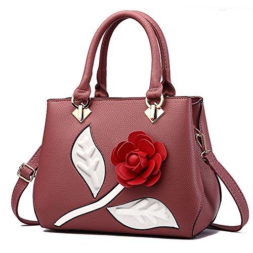 Bolso de mujer con flor Bolsa Rojo Oscuro de cuerpo cruzada bolsos...