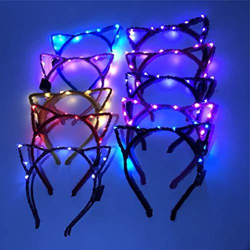Led Katze Ohr Stirnband Hairband,Wankd 4pcs Katze Bogen Hairbands Dekorative Leucht 10 LEDs Stirnband Kopfbedeckung Tiara Haarschmuck Festival Stirnband Party Hochzeit Decor (Schwarz)