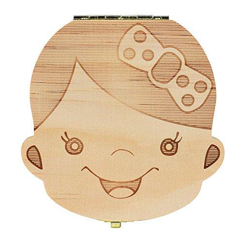 Boite Dents de Lait Organisateur de boîte Dents pour Dents de Lait de bébé enregistrer boîte de Rangement Bois pour Enfants Girl