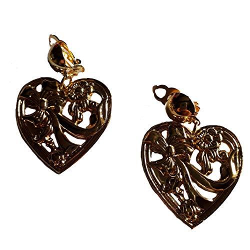 Widmann - Pendientes de fantasía de metal dorado con forma de corazón