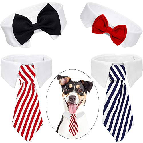 4 Stücke Haustier Fliege Einstellbare Haustier Krawatte Kostüm Formale Hundehalsband für Kleine Hunde und Katzen Hündchen Pflege Krawatten Party Zubehör (L, Schwarz, Rot, Rot Weiß, Blau Weiß)
