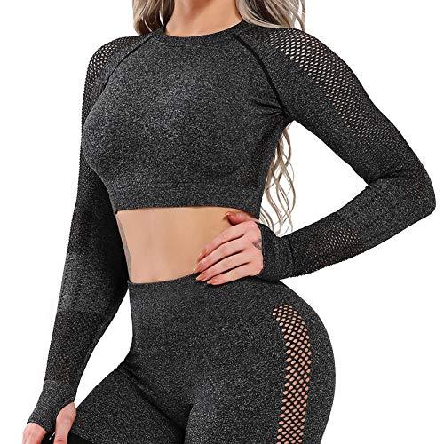 Tops Yoga Camiseta Deportiva A Juego Sin Costura Mangas Larga Aptitud Mujer #7 Top Negro S