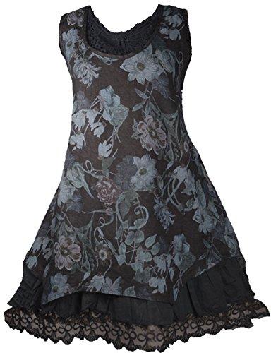 Damen Patchwork Sommer Leinen Spitze Tunika Kleid Shirt 42 44 46 L XL XXL Lagenlook Schwarz Urlaub Strand Blumen Print Rüschen (42)