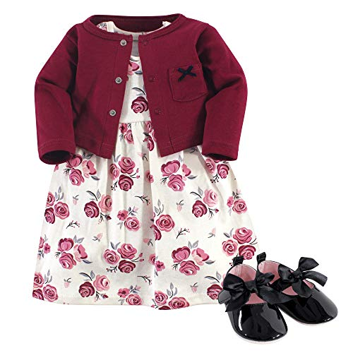 Hudson Baby Girls Cotton Dress, Cardigan and Shoe Set, Rose, 12-18 Months
