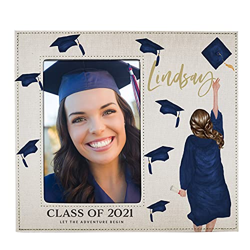 Graduation Gifts for Her 2021, 5x7 Graduation Frame for Women - Choose Hair, Skin Color - Quarantine Graduation, Personalized Graduation Gifts w Names for Graduates, High School, Class of 2021