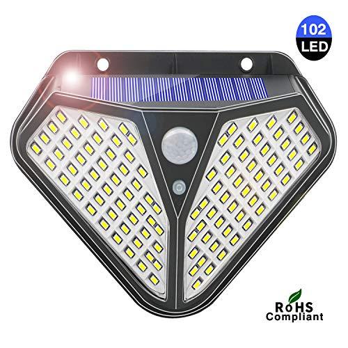 Shinmax Solarleuchten Outdoor 102 LED Sicherheitsleuchten Außen Solar Bewegungsmelder Solar Fairy Gartenleuchten Powered Lamp Wasserdichte drahtlose Wandleuchten mit 3 intelligenten Modi