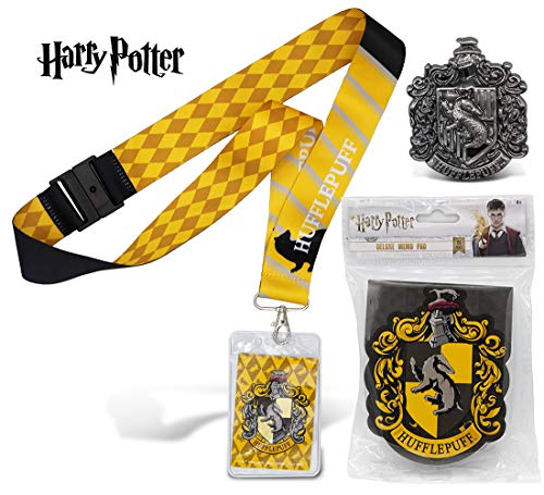 Warp Gadgets Harry Potter Bundle - Hufflepuff Deluxe Lanyard W/ Card Holder, Pewter Lapel Pin and Deluxe Memo Pad (3 Items)