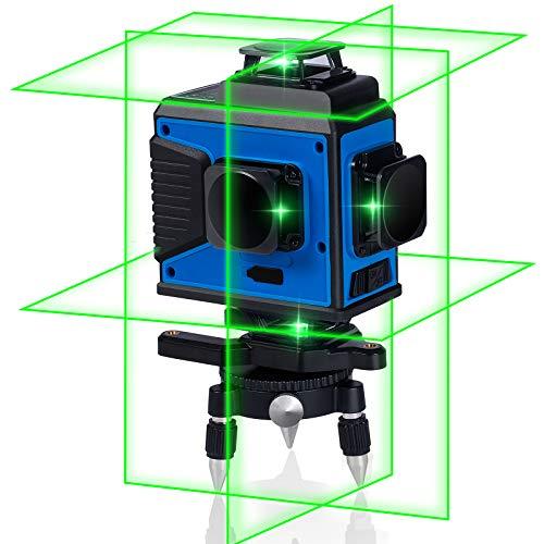 TEQStone Kreuzlinienlaser Selbstnivellierend Grüner Laser 4x 360° Linien bis 25m, IP54, mit 2x Akku, Drehbarer Magnetische Halterung, Hubtisch, Stativ, Laserzieltafel, Fernbedienung, Schutztasche