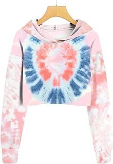 Imily Bela Girl's Tie-dye Hooded Crop Tops Long Sleeve Cute Pullover Sweatshirt Hoodies