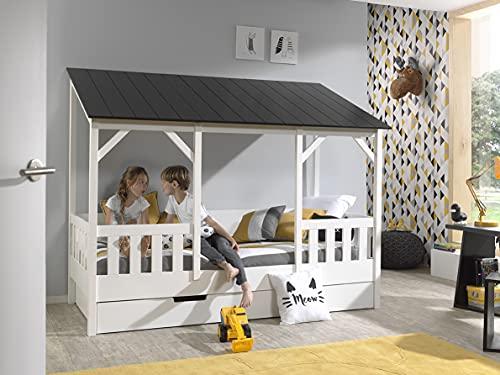 Vipack - Cama doméstica con Superficie de Descanso de 90 x 200 cm y cajón de Cama, Cuerpo Blanco Lacado, Techo en Negro, Blanco y Negro