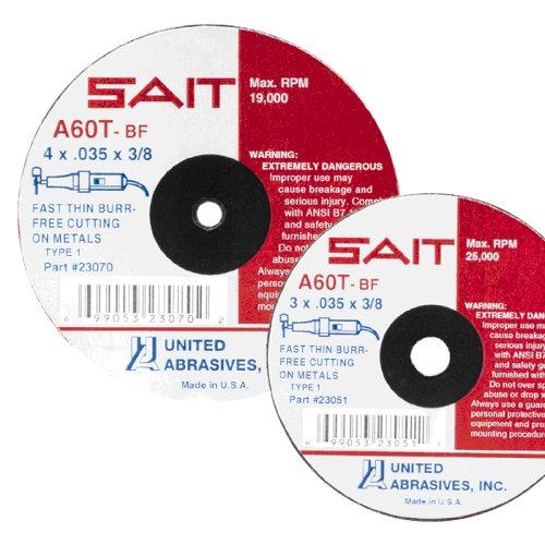 United Abrasives- SAIT 23041 Type 1 3-Inch x 1/16-Inch x 3/8-Inch 25000 Max RPM A60T - Burr Free Cut-Off Wheels, 50-Pack
