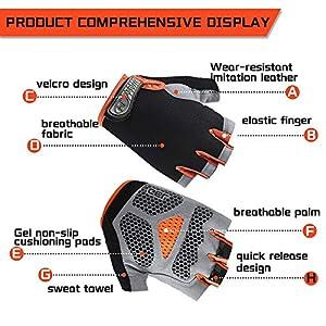 Inroserm Guantes de Ciclismo MTB Transpirable Antideslizante Absorción de Golpes Guantes Bicicleta Medio Dedo para Hombres Mujeres (Naranja, L)