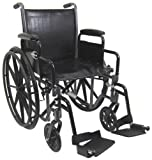 """Karman Healthcare T-2017-BK Folding Steel Transport Chair with Removable Footrests, Black, 17"""" Seat Width"""