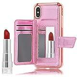 NALIA Wallet Cover compatibile con iPhone X/XS Custodia, Protettiva Copertura con Specchio & Slot per Schede & Chiusura Magnetica Brillantini PU Pelle Hardcase Bumper Resistente, Colore:Pink
