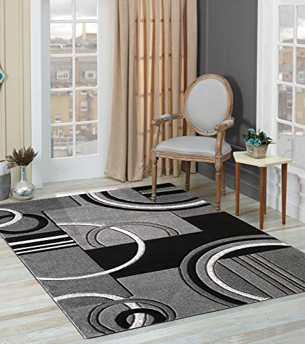 Glory Rugs Area Rug Modern 5x7 Grey Soft Hand Carved Contemporary Floor Carpet with Premium Fluffy Texture for Indoor Living Dining Room and Bedroom Area