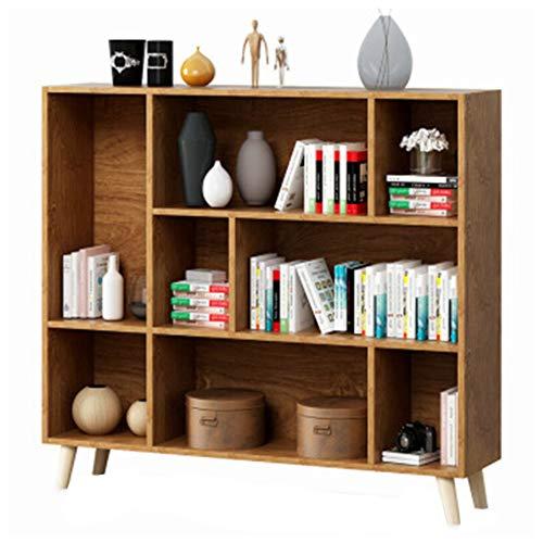 Regal Lagerregal mit drei Ebenen, 8 Fächern, Bücherregal, Vitrine, Beine aus massivem Holz, Farbe: Kirschholz, warmweiß, mehrschichtig Stil Größe Kirschholz