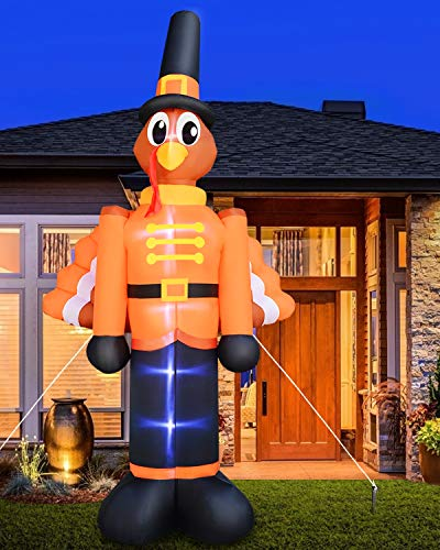 TURNMEON 12 Ft Thanksgivings Inflatable Turkey with Pilgrims Hat Thanksgivings Fall Autumns Decorations Outdoor Indoor Holiday Decor Blow up Lighted Yard Garden Lawn Home Party