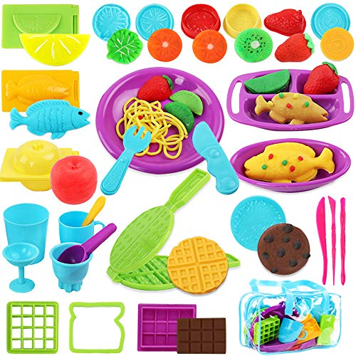 Vankerter Cooking Play Dough Tools Clay Dough Playset Includes Fish, Apple, Lemon, Waffles and Other Molds Cutters Accessories for Kids